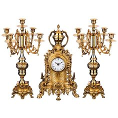 Набор каминный 3пр.: часы кварцевые настольные, 2 подсвечника Lefard (733-100)