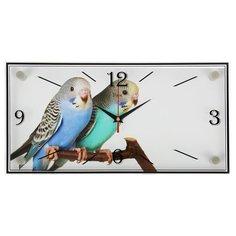 """Часы настенные 21 век серия: Животный мир, """"Парочка попугаев"""", 19*39 см"""
