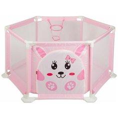 Манеж BONDIBON Веселые игры 125x55 см розовый