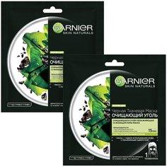 GARNIER черная тканевая маска Очищающий Уголь + Черные водоросли, 28 г, 2 шт.