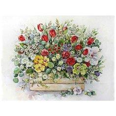 """Картина по номерам Цветной (Premium) """"Садовый букет в ящике"""", 40x50 см"""