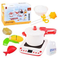 """Набор посуды Oubaoloon """"Кухня"""", с плитой, скороваркой и продуктами, в коробке (BC9008)"""