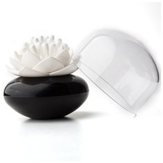 Контейнер для хранения ватных палочек Lotus черный-белый Qualy