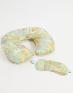 Комплект из дорожной подушки и маски для сна с принтом карты мира Sass & Belle-Многоцветный