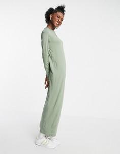Шалфейно-зеленое платье-лонгслив макси ASOS DESIGN-Зеленый