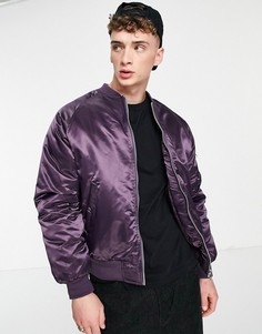 Утепленная куртка-бомбер блестящего фиолетового цвета в стиле oversized с карманом MA1 на рукаве ASOS DESIGN-Фиолетовый цвет