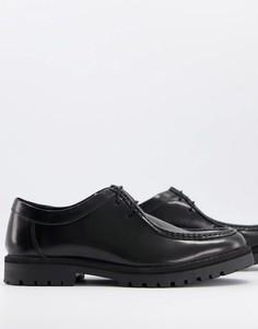 Черные кожаные ботинки на толстой подошве Silver Street-Черный цвет