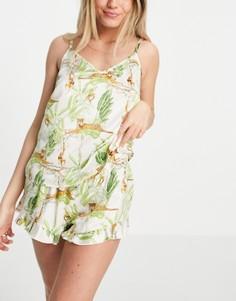 Атласная пижама с майкой и шортами с принтом джунглей Chelsea Peers-Многоцветный