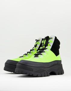 Ботинки из светоотражающей искусственной кожи на шнуровке и массивной подошве ASOS DESIGN-Желтый