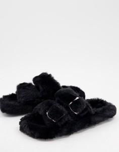 Черные пушистые слиперы с пряжкой Simmi London Lotus-Черный цвет