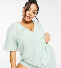 Эксклюзивная пижама из хлопка с рубашкой и шортами мятного цвета ASOS DESIGN Curve-Зеленый цвет