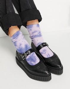 Черные туфли на плоской подошве с пряжкой Lamoda-Черный цвет