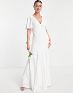 Свадебное платье из крепа с расклешенными рукавами ASOS EDITION Victoria-Белый