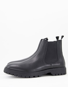 Черные кожаные ботинки челси на толстой подошве ASOS DESIGN-Черный цвет