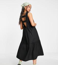 Черный сарафан миди с присборенной юбкой и ремешками сзади COLLUSION-Черный цвет