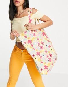 Кремовая пляжная сумка с цветочным принтом Vero Moda-Многоцветный