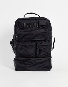 Черный нейлоновый рюкзак на 30 литров со множеством карманов и отделением для ноутбука ASOS DESIGN-Черный цвет