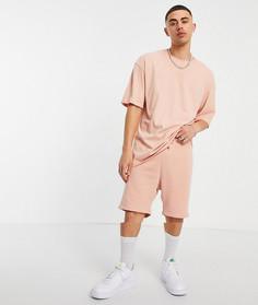 Набор из 2 предметов с футболкой в стиле oversized и шортами розового цвета Jack & Jones Originals-Розовый цвет
