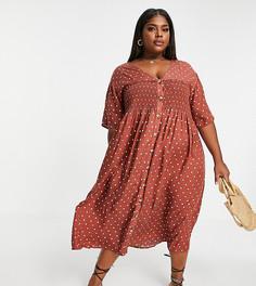 Присборенное платье миди рыжего цвета в горошек на пуговицах с присборенной юбкой ASOS DESIGN Curve-Многоцветный