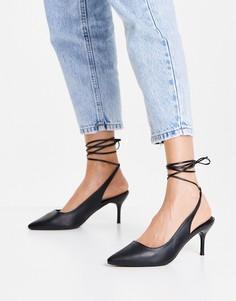 Черные туфли-лодочки с завязками на щиколотке New Look-Черный цвет