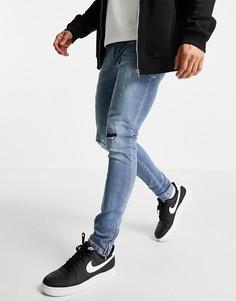 Светло-голубые зауженные джинсы со рваной отделкой Brave Soul-Голубой