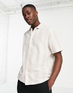 Рубашка с короткими рукавами из жатого материала цвета экрю в полоску River Island-Белый