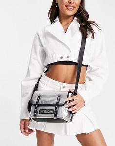 Серебристая сумка-портфель с логотипом Love Moschino-Серебристый