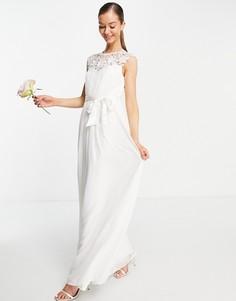 Свадебное платье макси цвета слоновой кости с кружевом Little Mistress-Белый