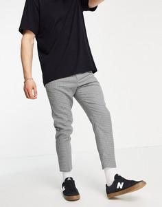 Суженные книзу укороченные брюки в клетку ASOS DESIGN-Серый
