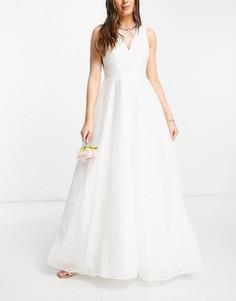 Белое свадебное платье макси с фактурной юбкой из тюля и V-образным вырезом сзади Y.A.S-Белый