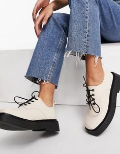 Туфли на плоской подошве цвета слоновой кости со шнуровкой ASOS DESIGN Martial-Светло-бежевый цвет