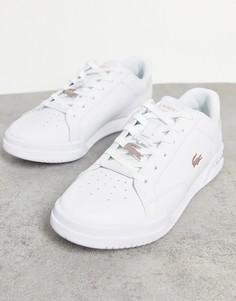 Белые кроссовки на толстой подошве с переливающимся эффектом Lacoste Twin Serve-Белый