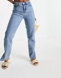 Винтажно-выбеленные джинсы с завышенной талией и разрезами Lost Ink-Голубой