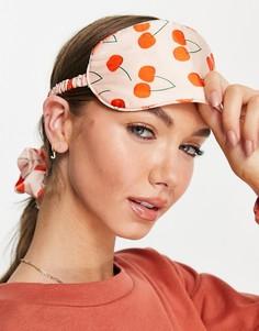 Эксклюзивный комплект из маски для сна и тканевой резинки для волос с принтом вишен Y.A.S-Многоцветный
