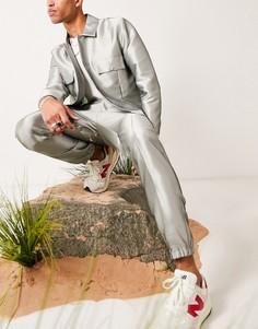 Строгие брюки из блестящей ткани пастельного зеленого цвета с манжетами в стиле джоггеров от комплекта ASOS DESIGN-Зеленый цвет