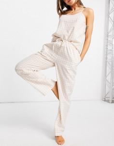 Длинная пижама на бретельках натурального цвета в клетку Loungeable-Светло-бежевый цвет