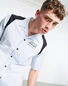 Голубая рубашка в стиле одежды для боулинга с логотипом Diesel-Голубой