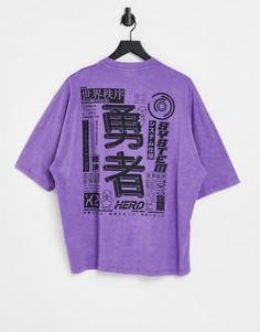 Фиолетовая выбеленная oversized-футболка с принтом на спине ASOS DESIGN-Фиолетовый цвет