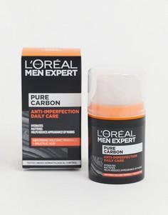 Отшелушивающий крем от высыпаний для ежедневного ухода с чистым древесным углем LOreal Men Expert, 50мл-Бесцветный
