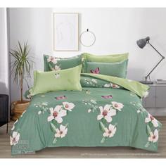 Комплект постельного белья евро поплин Цветущий сад Ивановотекстиль 227231