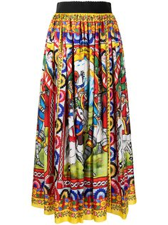 Dolce & Gabbana юбка миди с принтом Carretto