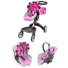 Многофункциональная коляска-трансформер 2в1 для кукол, металлическая Melobo / Melogo