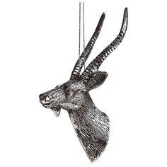 Елочное украшение ГОЛОВА АНТИЛОПЫ серебряная, 5х6.5х13 см, BILLIET 6244722