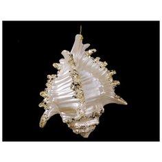 Елочное украшение РАКУШКА, акрил, жемчужная с золотом, 10 см, Forest Market 180109