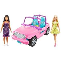 Barbie Кукла с подругой на розовом джипе