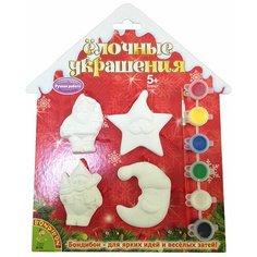 BONDIBON Набор для творчества Елочные украшения Дед Мороз Снеговик Месяц Звезда (ВВ1570)
