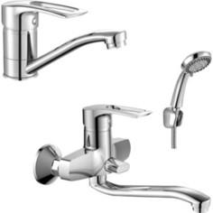 Комплект смесителей Rossinka Silvermix для раковины и ванны, с душем, хром (T40-34, T40-22)