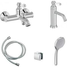 Комплект смесителей Jacob Delafon Louise для раковины, ванны, с душем, хром (E24363-CP, E24360-CP)