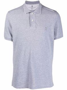 Brunello Cucinelli рубашка поло с вышитым логотипом