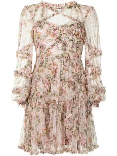 Needle & Thread платье мини с длинными рукавами и цветочным принтом